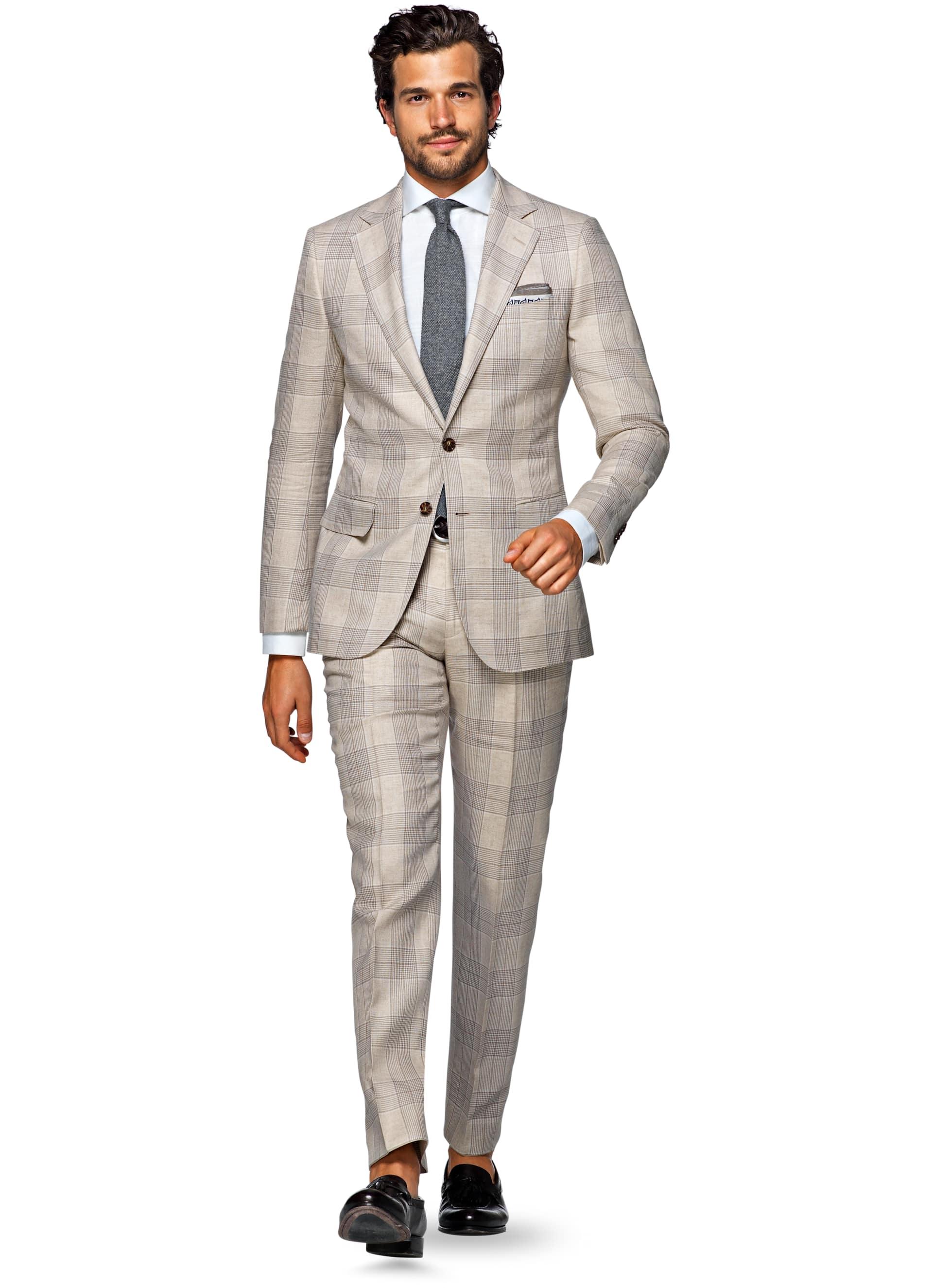 Suit Light Brown Check Lazio P4822i | Suitsupply Online Store